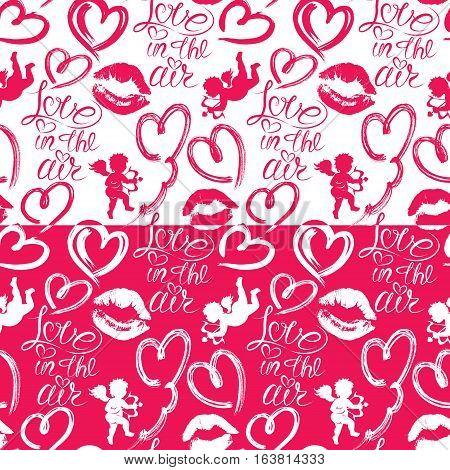 Seamless pattern with brush strokes and scribbles in heart shapes lips prints angels and calligraphic hand written text Love in the air. Valentines Day holiday background.
