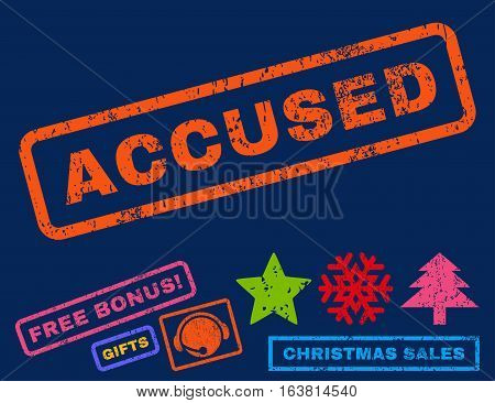 Accused text rubber seal stamp watermark with additional bonus christmas symbols. Caption inside rectangular banner with grunge design and dirty texture.