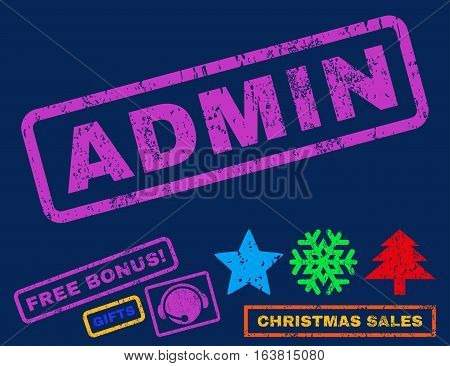 Admin text rubber seal stamp watermark with additional bonus christmas symbols. Tag inside rectangular banner with grunge design and scratched texture.