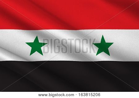 Flag of Syria officially the Syrian Arab Republic is a country in Western Asia. 3d illustration