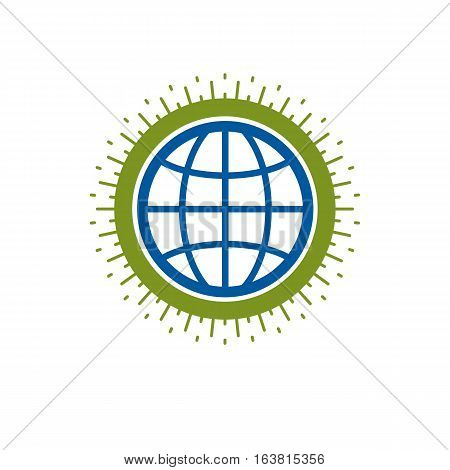 Earth globe vector icon isolated on white
