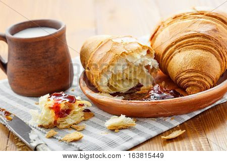 Croissant jam and milk on a table. Traditional French healthy breakfast with croissants.