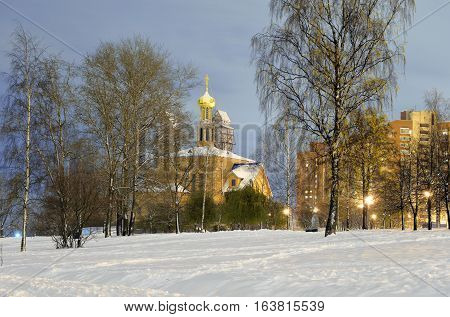 Church oin microdistrict Ribatskoe at night on the outskirts of St. Petersburg Russia.