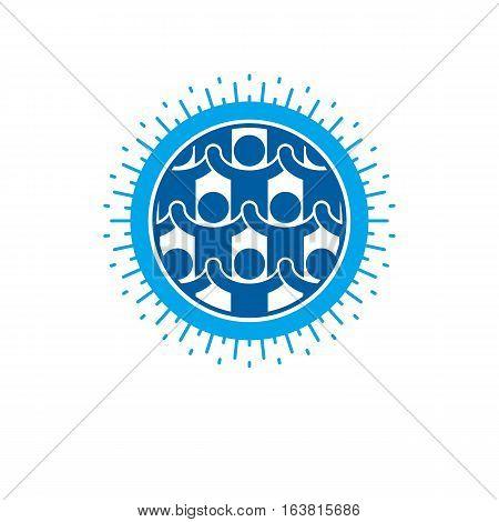 Social Relations conceptual logo unique vector symbol. Social interaction Society and person.