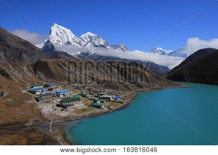 Beautiful landscape in the Everest National Park Nepal. Gokyo valley.
