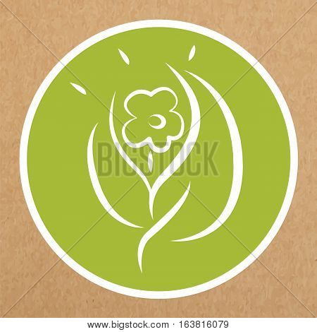 Eco hypoallergenic icon flower and leafs sign