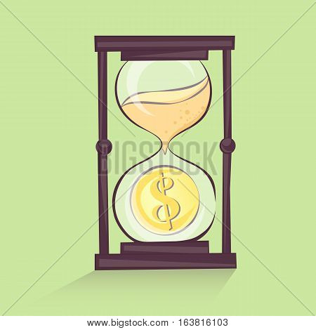 Sand clock with dollar sign vector illustration