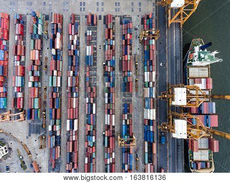 Aerial Topdown Shot Of Large Bangkok Shipping Port