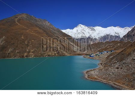 Gokyo in autumn. Travel destination in the Everest National Park Nepal.