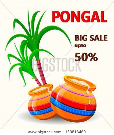 Happy Pongal poster for sale on white background. Makar sankranti. Poster. Vector illustration.