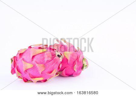 dragon fruit (dragonfruit) or pitaya on white background healthy dragon fruit food isolated