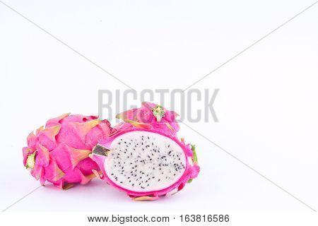 organic dragon fruit (dragonfruit) or pitaya on white background healthy dragon fruit food isolated