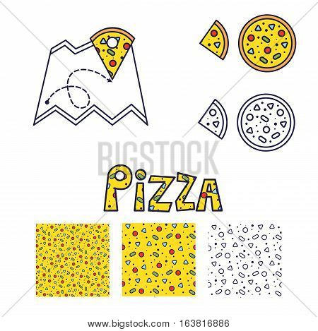 Pizza line icon and seamless pattern vector set. Yellow pizza text design and map geo tag.