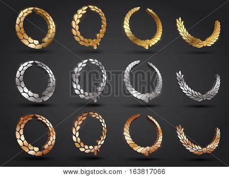 Wreath vector icon set .Laurel wreaths symbol of victory, glory and success. 3d vector illustration. Design element. Top places. Gold, silver, bronze laurel wreath. poster