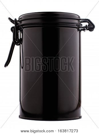 front view of black metal thin can container cylinder form for tea or coffee packaging isolated on white