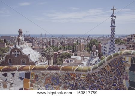 vintage park guell view in the city of barcelona