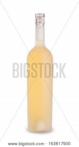 front view of white wine in acid etched bottle without label and glass cap enclosure isolated on white background