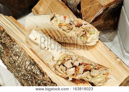 Delicious Shawarma, Doner kebab on birch wood