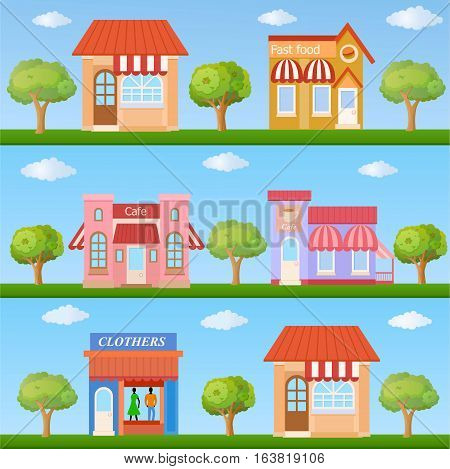 Building icon set. Colorful store building front view on nature background vector illustration