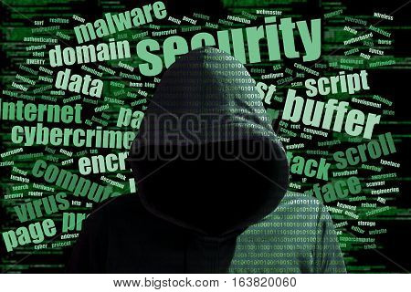 Hacker in a green hoody standing in front of a code background with binary streams and information security terms cybersecurity concept