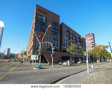 HAMBURG GERMANY - CIRCA NOVEMBER 2016: Harbour buidling in the HafenCity quarter