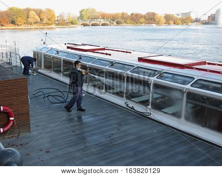 HAMBURG GERMANY - CIRCA NOVEMBER 2016: washing a ferryboat in a harbour