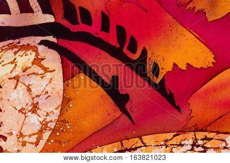 Horns, Hot Batik, Background Orange And Red Texture, Handmade On Silk, Abstract Surrealism Art