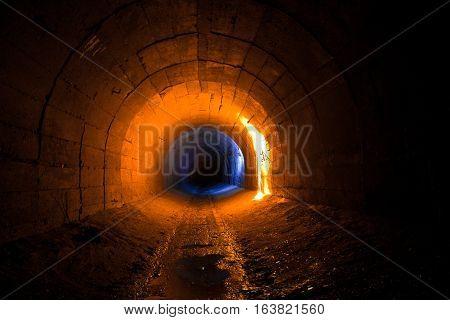 Abandoned tunnel of drainage system of mine, Abkhazia