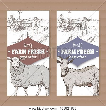 Set of two white farm shop labels with farmhouse, barn, sheep and goat. Placed on cardboard texture. Includes hand drawn elements.