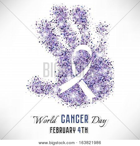 Shape of hand from lavender shiny glitter with ribbon inside on white background. World Cancer day in February 4. Vector illustration