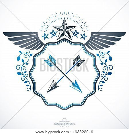 Heraldic emblem isolated vector illustration created with pentagonal stars and spears