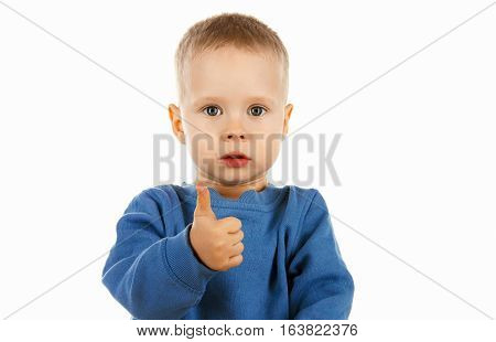 Cute Happy Kid Showing Thumbs Up Everything Is Ok,