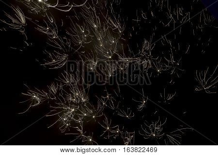 Fireworks explode glittering with dazzling results on black sky