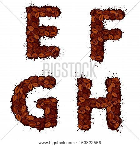 EFGH english alphabet letters made of coffee beans in grunge style isolated on white background