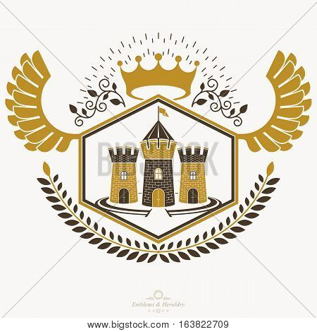 Vintage heraldry design template vector emblem created with medieval stronghold illustration and royal crown