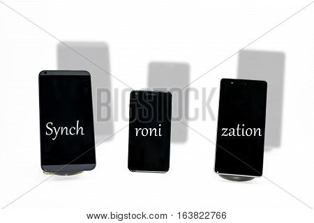 Three smartphones abstract composition. Isolated on white background.