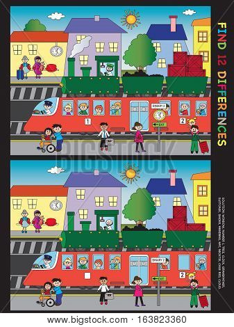 game for children: find twelve differences in the illustration