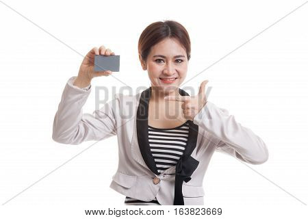 Young Asian Business Woman Point To A Blank Card.
