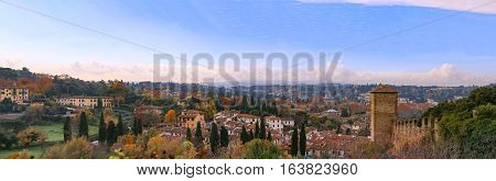 Italy. Florence. Panoramic view from Giardino Bardini. Florence is the ancient city of the Italian region of Tuscany and of the Metropolitan City of Florence, on the banks of the River Arno.
