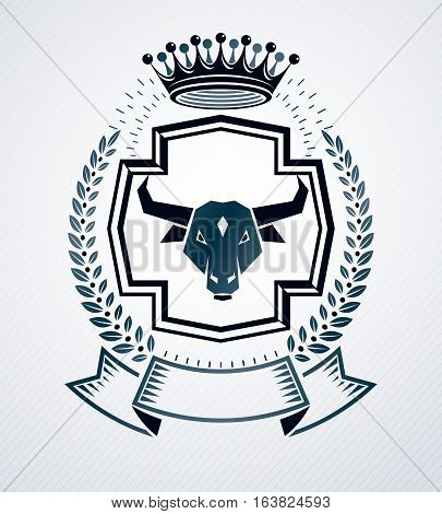 Heraldic vector sign created with vintage elements like bull head and royal crown