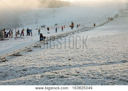 JAVORNIK CZECH - 31 December 2016: Winter bobsled track in winter. The bobsleigh run in the ski resort in northern Bohemia.