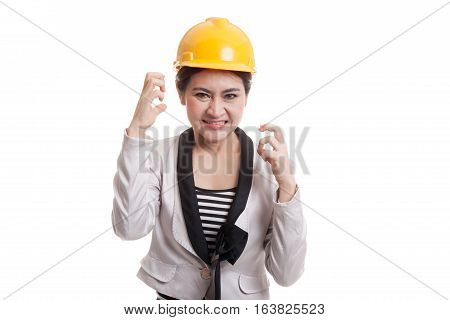 Asian Engineer Woman Is Angry , Upset.
