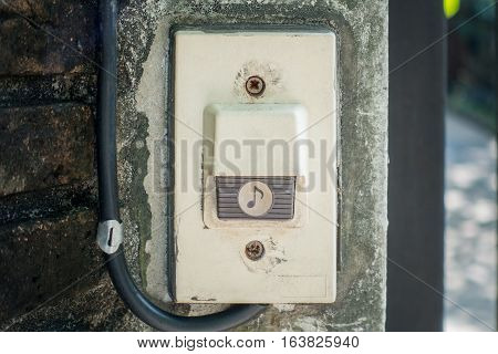 Electric House Gate Buzzer Bell button on concrete wall