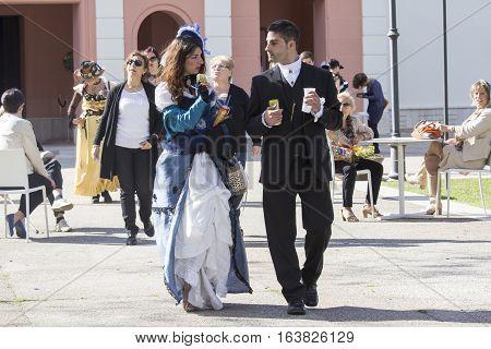 CAGLIARI, ITALY - June 1, 2014: Sunday at La Grande Jatte public gardens - Sardinia