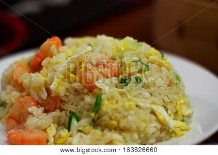 Shrimp fry rice, Chinese style, close up