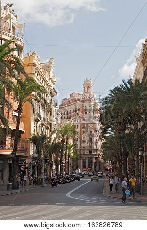 VALENCIA, SPAIN-OCTOBER 07, 2016: Headquarters of the Bank of Valencia, historic city of Valencia