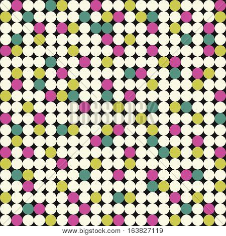 Seamless pattern with pink, yellow and green circles on black background