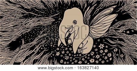 hand drawn cute baby elephant with wings among the stars