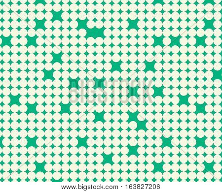 Seamless pattern with white circles on green background