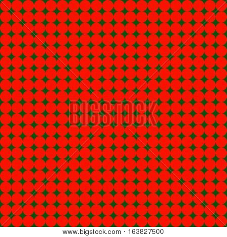 Seamless pattern with many little red circles on green dark background